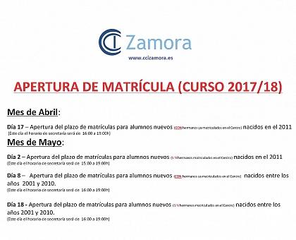 APERTURA DE MATRÍCULA (CURSO 2017/18)