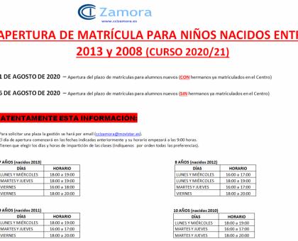 Apertura de Matrícula Niños Curso 2020/2021