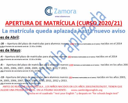 APERTURA DE MATRÍCULA APLAZADA (CURSO 2020/21)